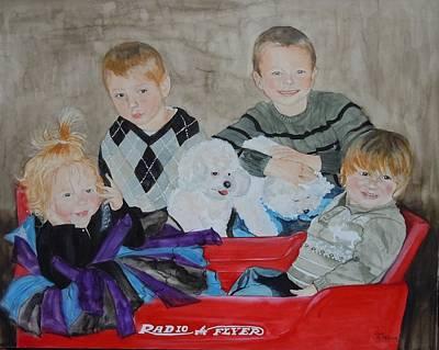 Radio Flyer Wagon Painting - Team Radio Flyer by Jean Blackmer