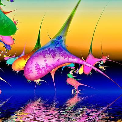 Dolphins Digital Art - Techno Pod by Sharon Lisa Clarke