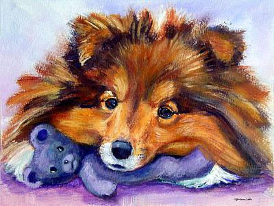 Sheltie Painting - Teddy Bear Love - Shetland Sheepdog by Lyn Cook