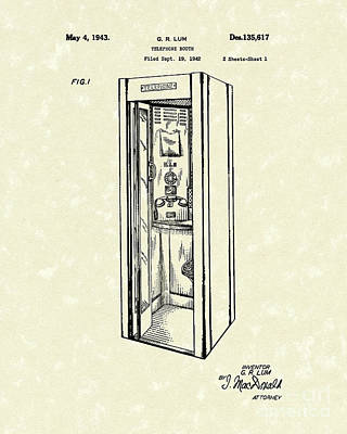 Telephone Booth 1943 Patent Art Print by Prior Art Design
