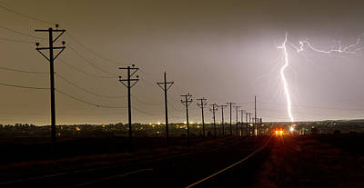 Lightning Photograph - Telephone Poles by James BO  Insogna