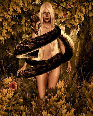 Burmese Python Digital Art - Temptation And Fall by Lourry Legarde