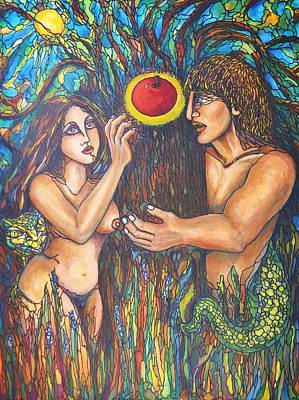 Temptation Of Adam And Eve  Print by Rae Chichilnitsky