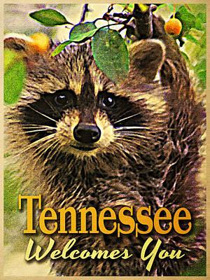 Raccoon Digital Art - Tennessee Racoon by Flo Karp
