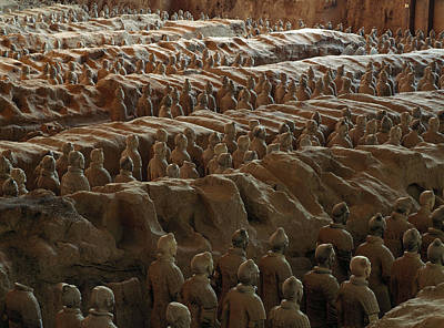 Qin Shi Huang Photograph - Terra-cotta Soldiers Face An Imaginary by O. Louis Mazzatenta