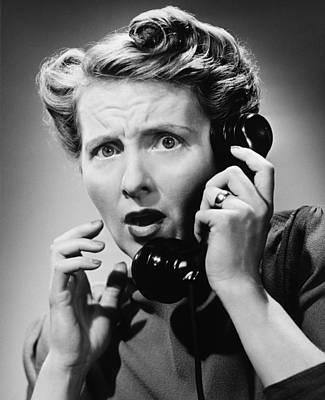 Terrified Woman Talking On Phone, (b&w), Portrait Print by George Marks