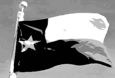 Republic Of Texas Digital Art - Texas Flag Pole Bw3 by Scott Kelley