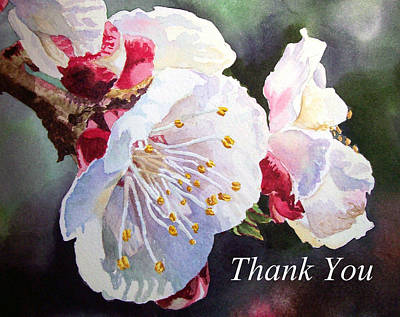 Apricot Painting - Thank You Card Apricot Blossom by Irina Sztukowski