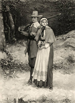 Thanksgiving, Print Showing A Puritan Print by Everett