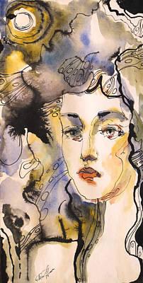 Wet On Wet Drawing - That's Her by Valentina Plishchina