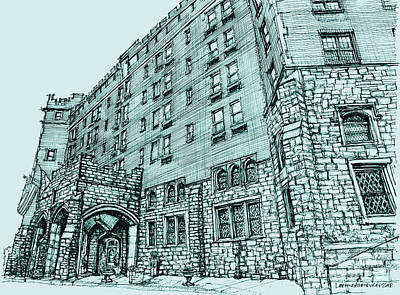 Pen Drawing - Thayer Hotel In Blue by Building  Art