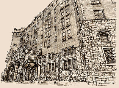 Pen Drawing - Thayer Hotel In Pink by Building  Art