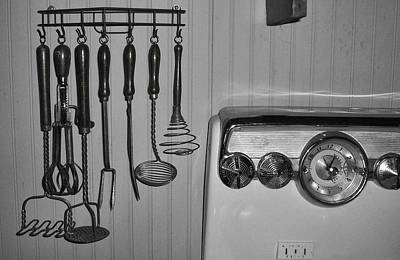 The 1950s Kitchen In Black And White Print by Kathy Clark