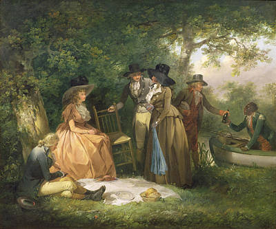 Ground Painting - The Angler's Repast  by George Morland