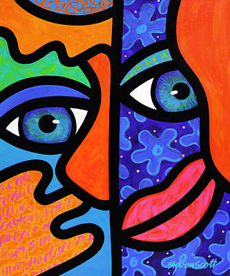 Abstract Faces Painting - The Answer Is Three by Steven Scott