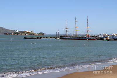The Balclutha . A 1886 Square Rigged Cargo Ship At The Hyde Street Pier Overlooking Alcatraz.7d14068 Print by Wingsdomain Art and Photography