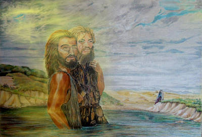 The Baptism Of Yeshua Messiah Print by Anastasia Savage Ealy