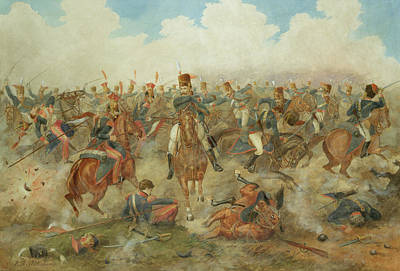 Lancer Painting - The Battle Of Waterloo June 18th 1815 by John Augustus Atkinson