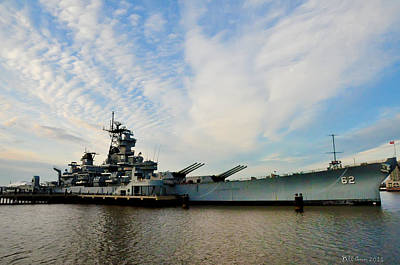 Cruiser Digital Art - The Battleship New Jersey At The Port Of Camden by Bill Cannon