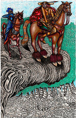 The Beast And Nahamanides In Shitaki Forest Print by Al Goldfarb