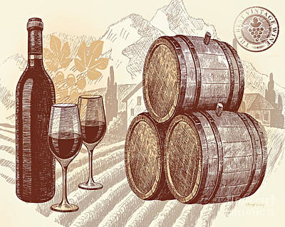 The Best Vintage Wine Print by Cheryl Young