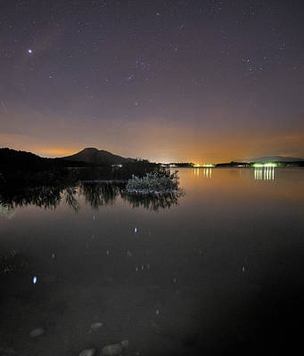 The Big Star Sirius The Costelation Of Orion And Taurus Reflected At The Lake Print by Guido Montanes Castillo