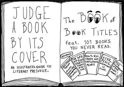 The Book Titles Book Cover Cartoon Original by Yasha Harari