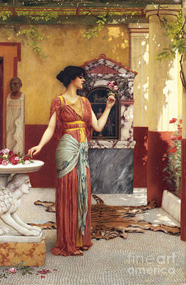 Shrine Painting - The Bouquet by John William Godward