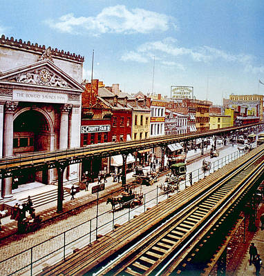 The Bowery With Its Elevated Rail Line Print by Everett