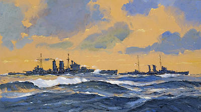 Royal Navy Painting - The British Cruisers Hms Exeter And Hms York  by John S Smith