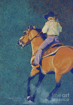 Barrel Racing Pastel - The Buckskin by Tracy L Teeter
