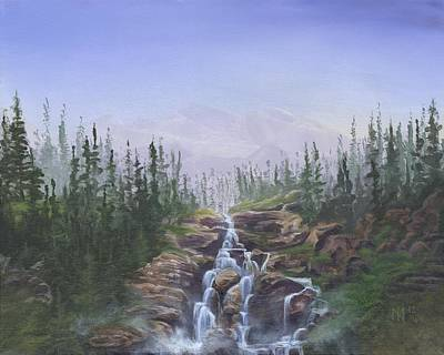 Canoe Waterfall Painting - The Canoeist Concern by Kent Nicklin
