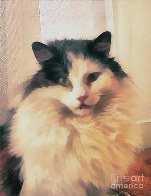 Odon Painting - The Cat Portrait by Odon Czintos