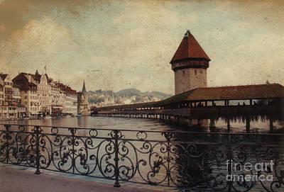The Chapel Bridge In Lucerne Switzerland Print by Susanne Van Hulst