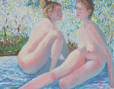 Outdoor Nude Painting - The Conversation by Robert P Hedden