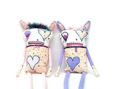 Oddling Sculpture - The Cutie Patootie Zombie Bunny Twins by Oddball Art Co by Lizzy Love