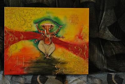 Vinayaka Painting - The Dancing Ganesha by Meena Subbu