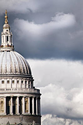 The Dome Of St Paul's Cathedral Against Stormy Sky Print by Sarah Franklin www.eyeshoot.co.uk