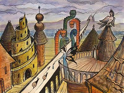 Wet On Wet Drawing - The Dragon Bridge by Valentina Plishchina