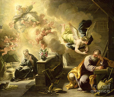 Seraphim Angel Painting - The Dream Of Saint Joseph by Luca Giordano