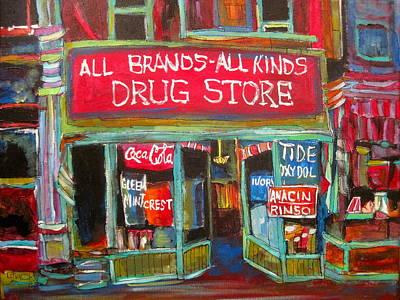 Litvack Painting - The Drug Store by Michael Litvack