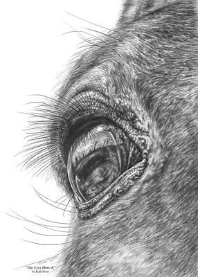 Closeups Drawing - The Eyes Have It - Horse Portrait Closeup Print by Kelli Swan