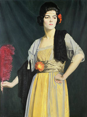 The Feather Fan  Print by William Strang