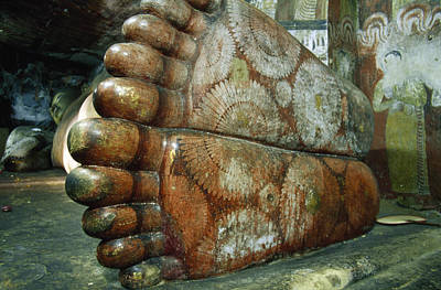 Carving In Stone Photograph - The Feet Of A 1st Century Reclining by Jason Edwards