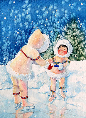 Illustration For Childrens Book Painting - The Figure Skater 2 by Hanne Lore Koehler