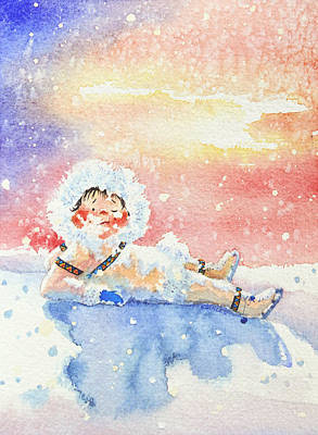 Illustration For Childrens Book Painting - The Figure Skater 6 by Hanne Lore Koehler