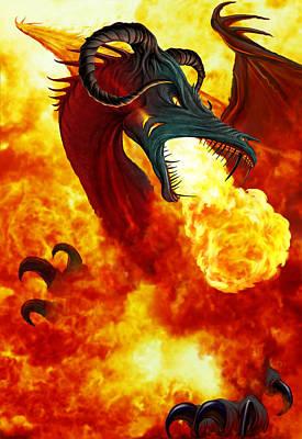 The Fire Dragon Print by The Dragon Chronicles - Garry Wa