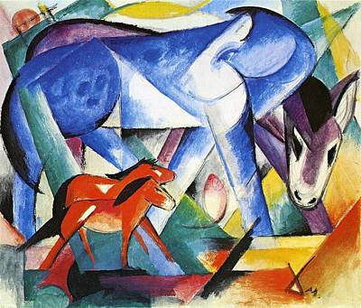 Fragment Painting - The First Animals by Franz Marc