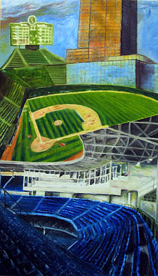 Chicago Baseball Drawing - The Friendly Confines by Chris Ripley
