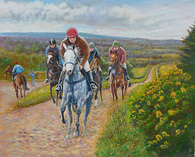 Clare Painting - The Gallops by Tomas OMaoldomhnaigh
